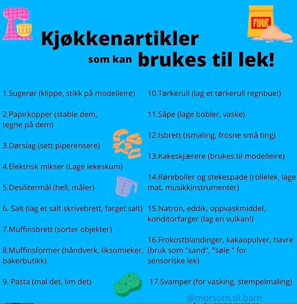 Morsom.til.barn sin liste over kjøkkenartikler som kan brukes til lek!